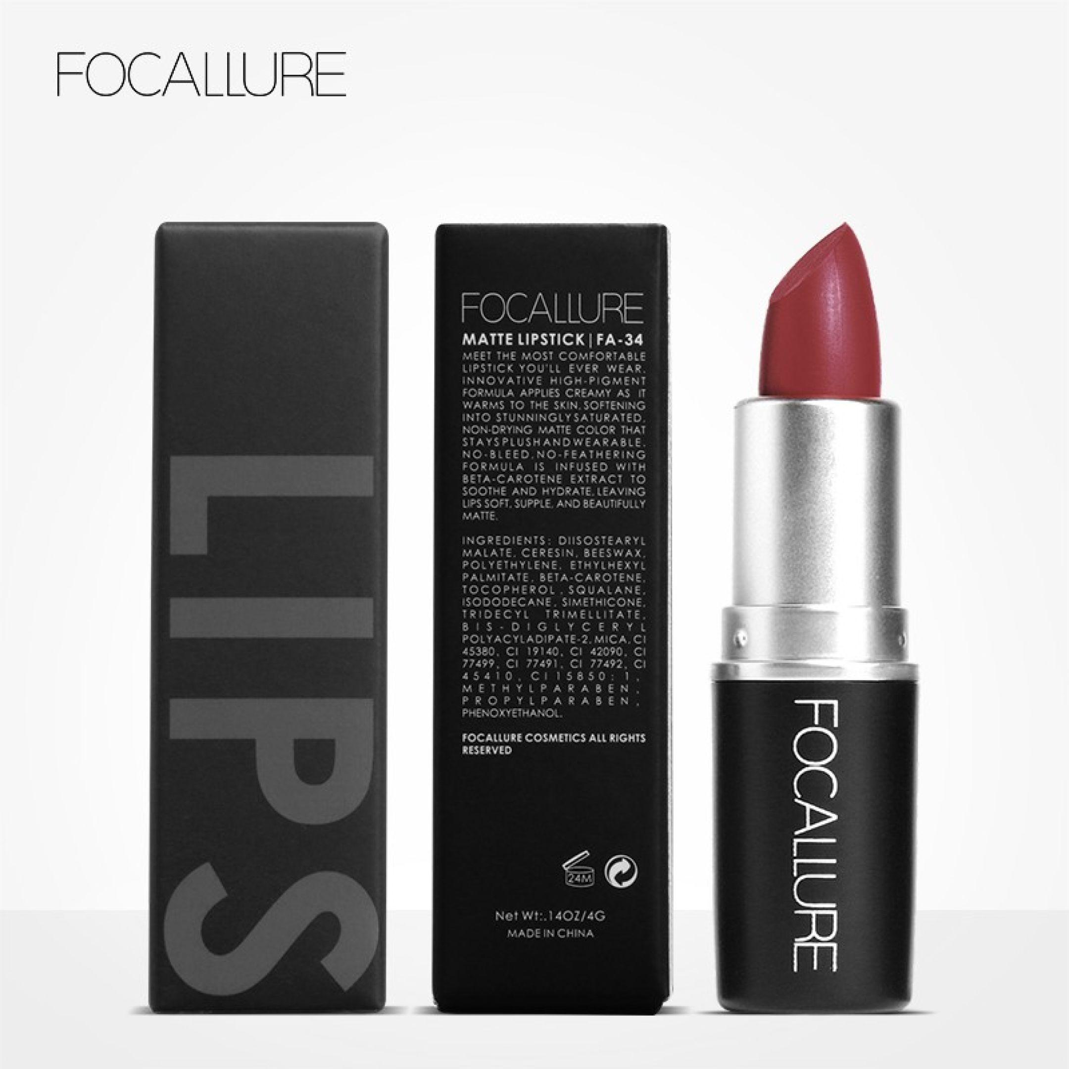 Focallure 18 Colors Matte Lipstick Easy To Wear Lips Cosmetics 17
